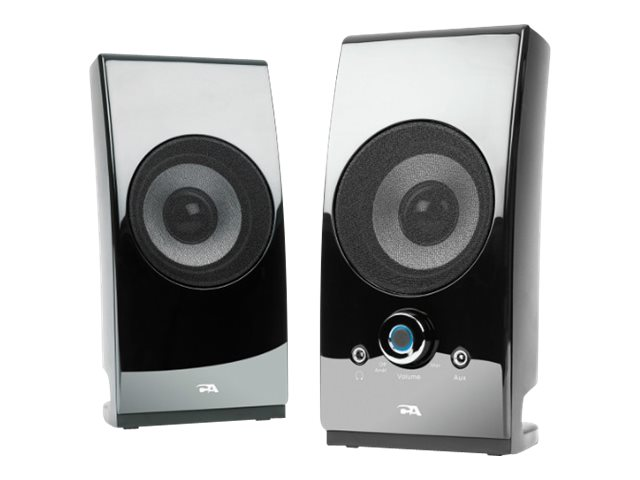 Cyber Acoustics 2.0 Power Speaker System w  Desktop Controls - Glossy Black