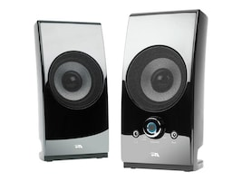 Cyber Acoustics 2.0 Power Speaker System w  Desktop Controls - Glossy Black, CA-2027, 31070706, Speakers - Audio