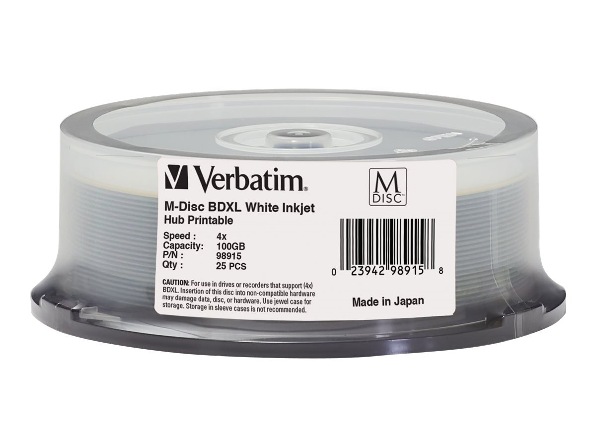 Verbatim 4x 100GB M-DISC BDXL Inkjet Hub Printable Media (25-pack Spindle), 98915