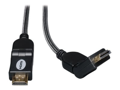 Tripp Lite Ultra HD 4Kx2K High Speed HDMI M M Digital Video and Audio Cable with Swivel Connectors, Black, 10ft, P568-010-SW, 10912249, Cables