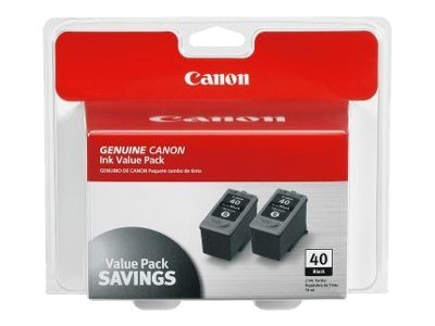Canon Black PG-40 Ink Tank for PIXMA iP1600 iP1700 (Twin Pack), 0615B013, 7428245, Ink Cartridges & Ink Refill Kits