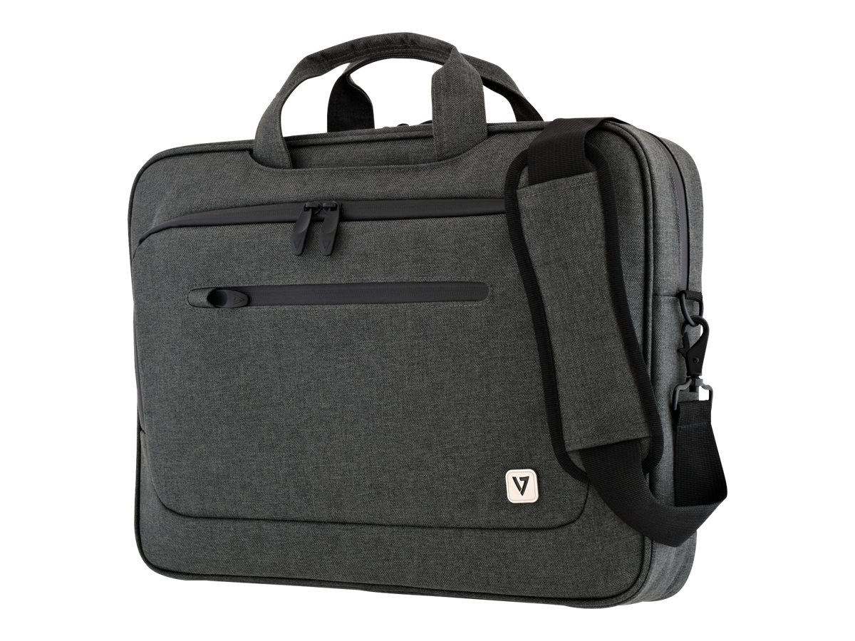 V7 Slim Briefcase for UltraBook 14.1 13.3, Trolley Strap