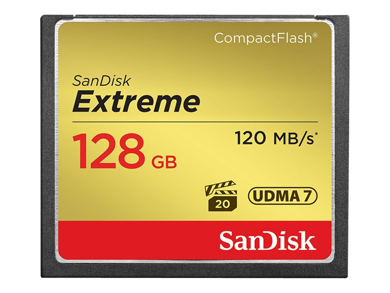 SanDisk 128GB Extreme CompactFlash Memory Card, SDCFXS-128G-A46, 16434428, Memory - Flash