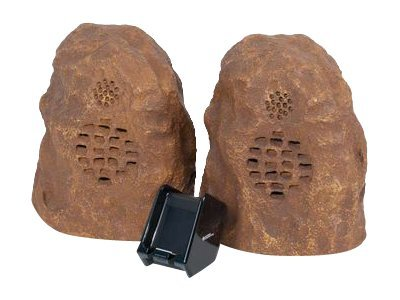 C2G Sandstone Wireless Rock Speaker Bundle (Rechargeable) with Dual Power Transmitter, 41309