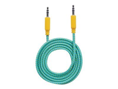 Manhattan 3.5mm M M Braided Audio Cable, Teal Yellow, 1m