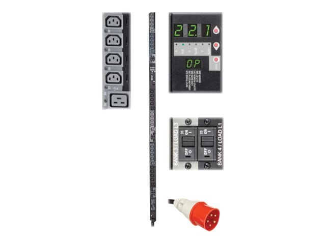 Tripp Lite Switched PDU 22.1kW 380 400V 3-Ph 230V Output 0U IEC309 32A Red (3P+N+E) (24) C13 (6) C19 Outlets