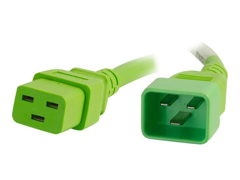 C2G Power Cord C20 to C19 12 3 SJT, Green, 1ft