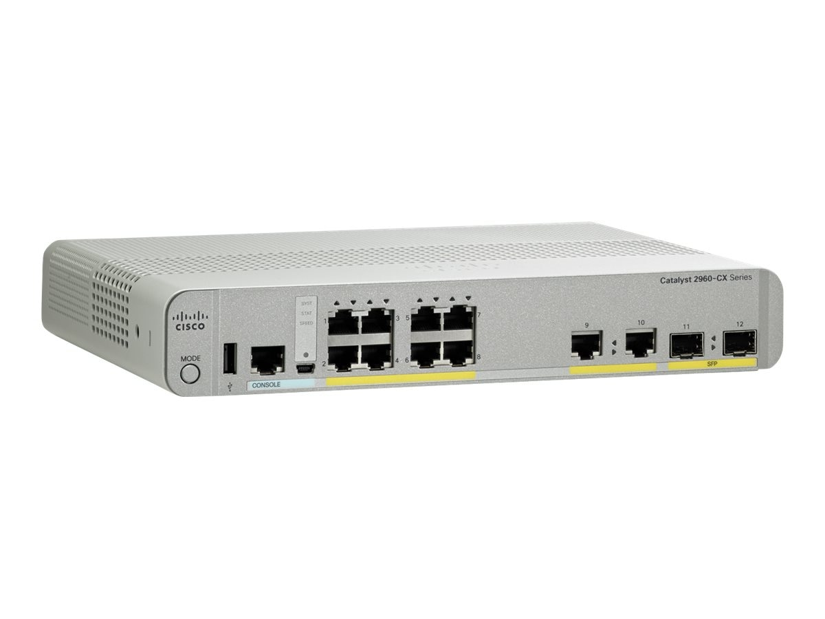 Cisco 2960-CX switch 8 GE, uplinks: 2 x 1G SFP and 2 x 1G copper PoE+ LAN Base, WS-C2960CX-8TC-L, 18492656, Network Switches