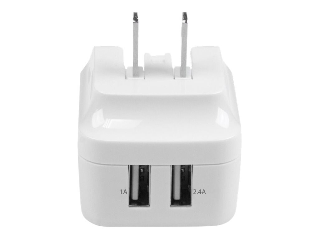StarTech.com Dual-port USB Wall Charger w  International Travel Adapters, 17W 3.4A, White, USB2PACWH