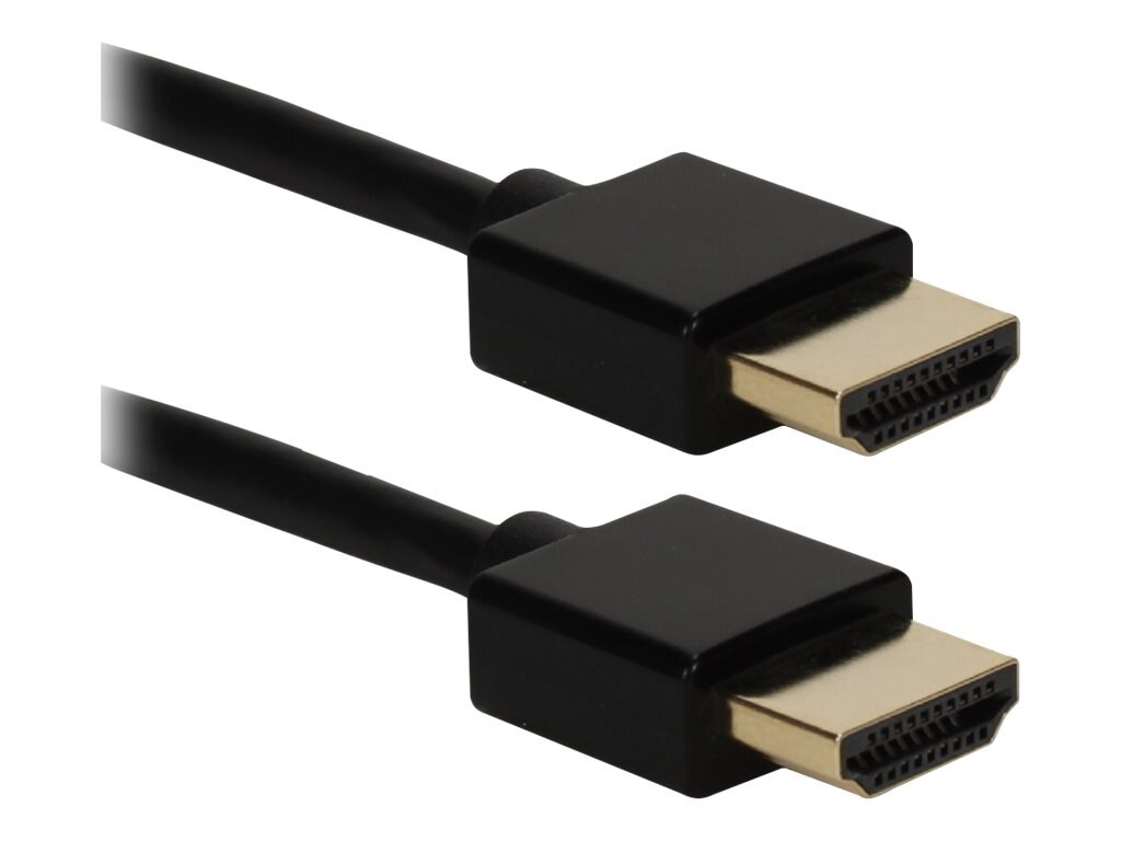 QVS High Speed HDMI M M Ultra HD 4K with Ethernet Thin Flexible Cable, Black, 10ft