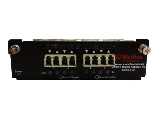 McAfee 4-port 850nm 1 10GE Interface Expansion Module, IAC-4P1GMM62-MODI