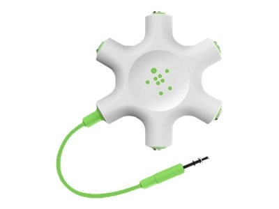 Belkin RockStar 3.5mm 5-Port Audio Splitter, Green, F8Z274BTGRN