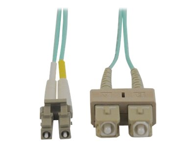 Tripp Lite Fiber 10Gb Patch Cable, LC SC, 50 125, Duplex, Multimode, Aqua, 1m, N816-01M, 7373125, Cables