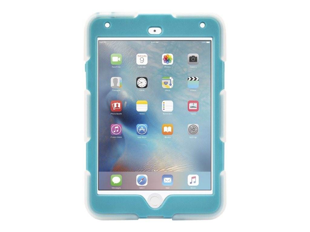 Griffin All-Terrain Military Duty Anti-Shock Case w  Stand for iPad mini 4, Clear Blue