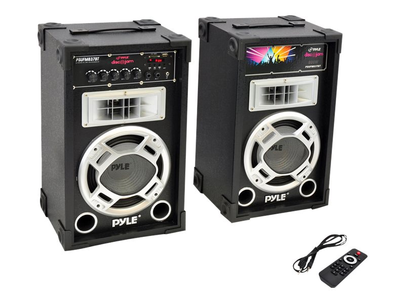 Pyle 800W Dual Disco Jam Powered Two-Way PA BT Speaker System