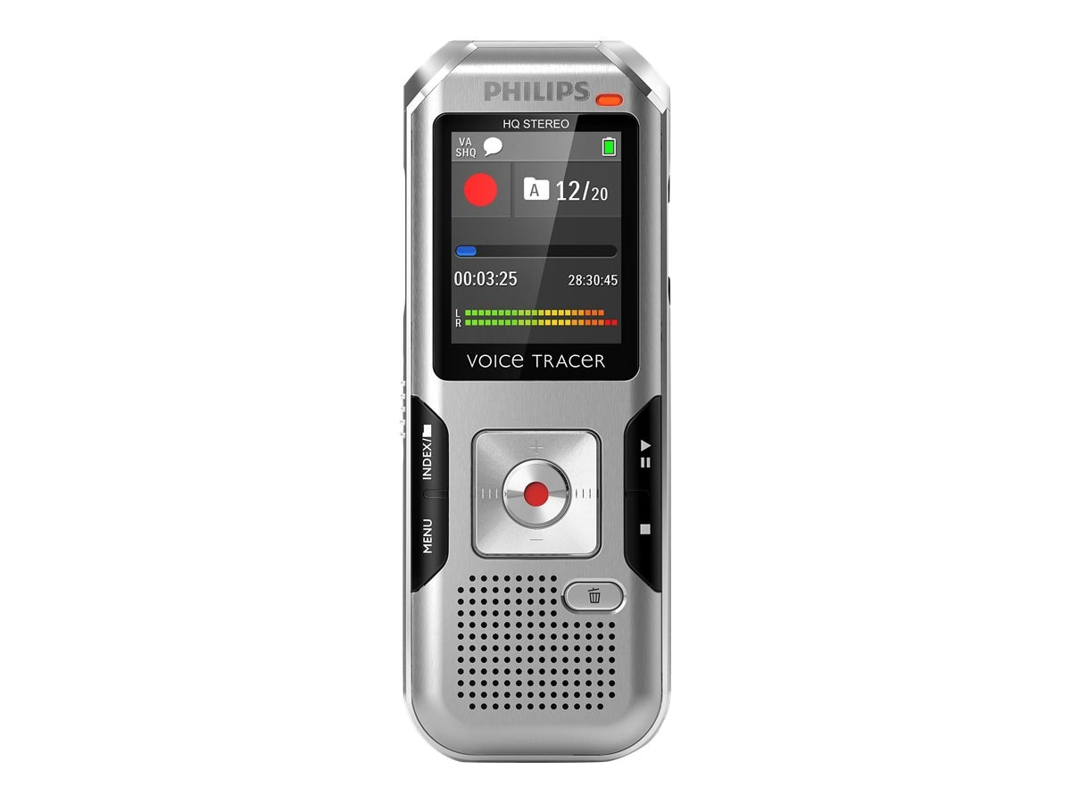 Philips Digital Voice Tracer DVT4000 Voice Recorder - Chrome Silver Shadow