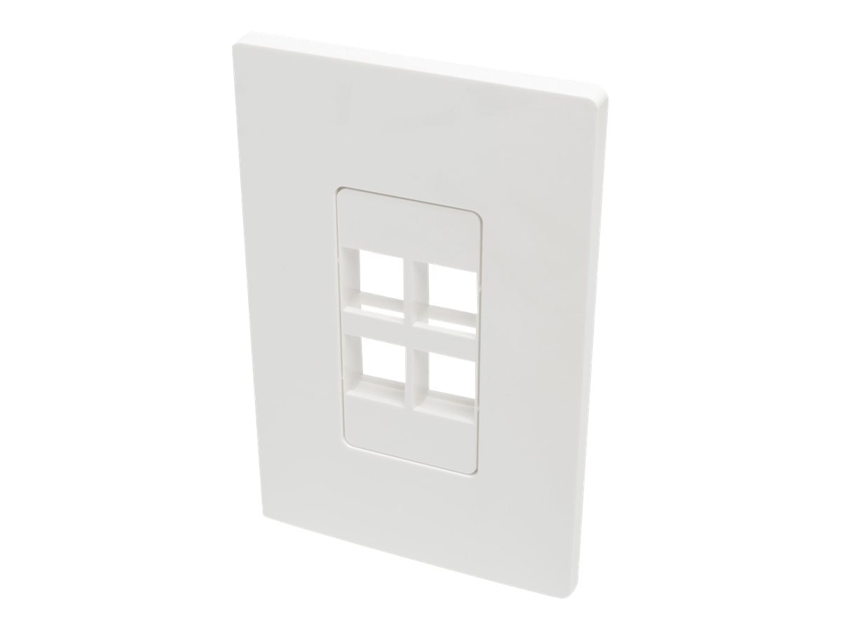 Tripp Lite Single-Gang Universal Keystone Wallplate, 4-Port, White, N080-104
