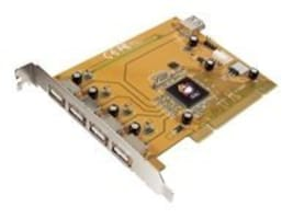 Siig USB 2.0 5-Port PCI RoHS Compliant Controller 5-Port (4 External and 1 Internal) Adapter, JU-P50212-S5, 6904975, Adapters & Port Converters