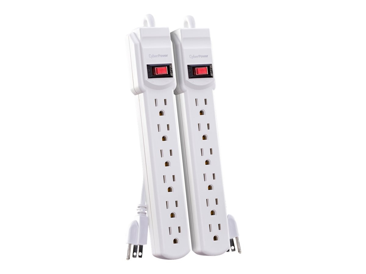 CyberPower Power Strip (6) Outlets 2ft Cord, White (2-pack)