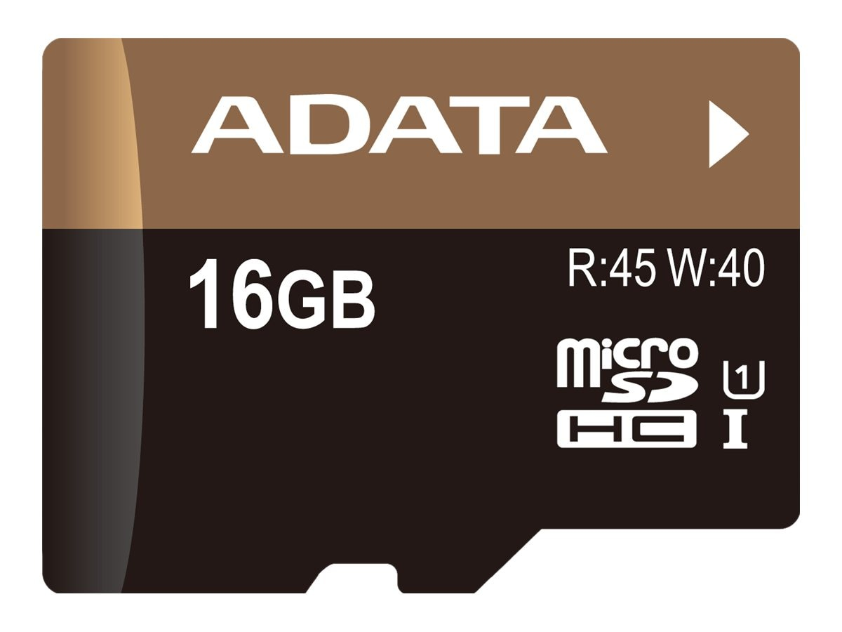 A-Data 16GB Premier Pro MicroSDHC UHS-I Flash Memory Card, Class 10 with Adapter, AUSDH16GUI1-RA1