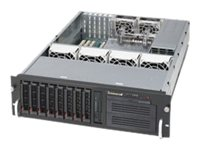 Supermicro SuperChassis 833T 3U RM, Single or DC Intel AMD, 8x3.5 HS Bays, 6x PCI, 6x Fans, 650W PS
