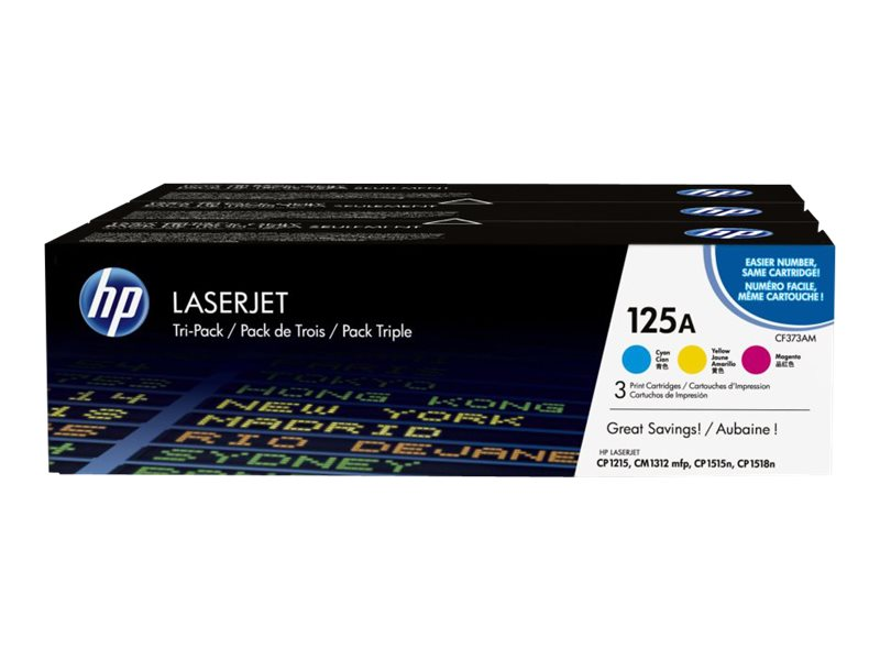 HP 125A (CE259A) 3-pack Cyan Yellow Magenta Original LaserJet Toner Cartridges, CE259A, 11231859, Toner and Imaging Components