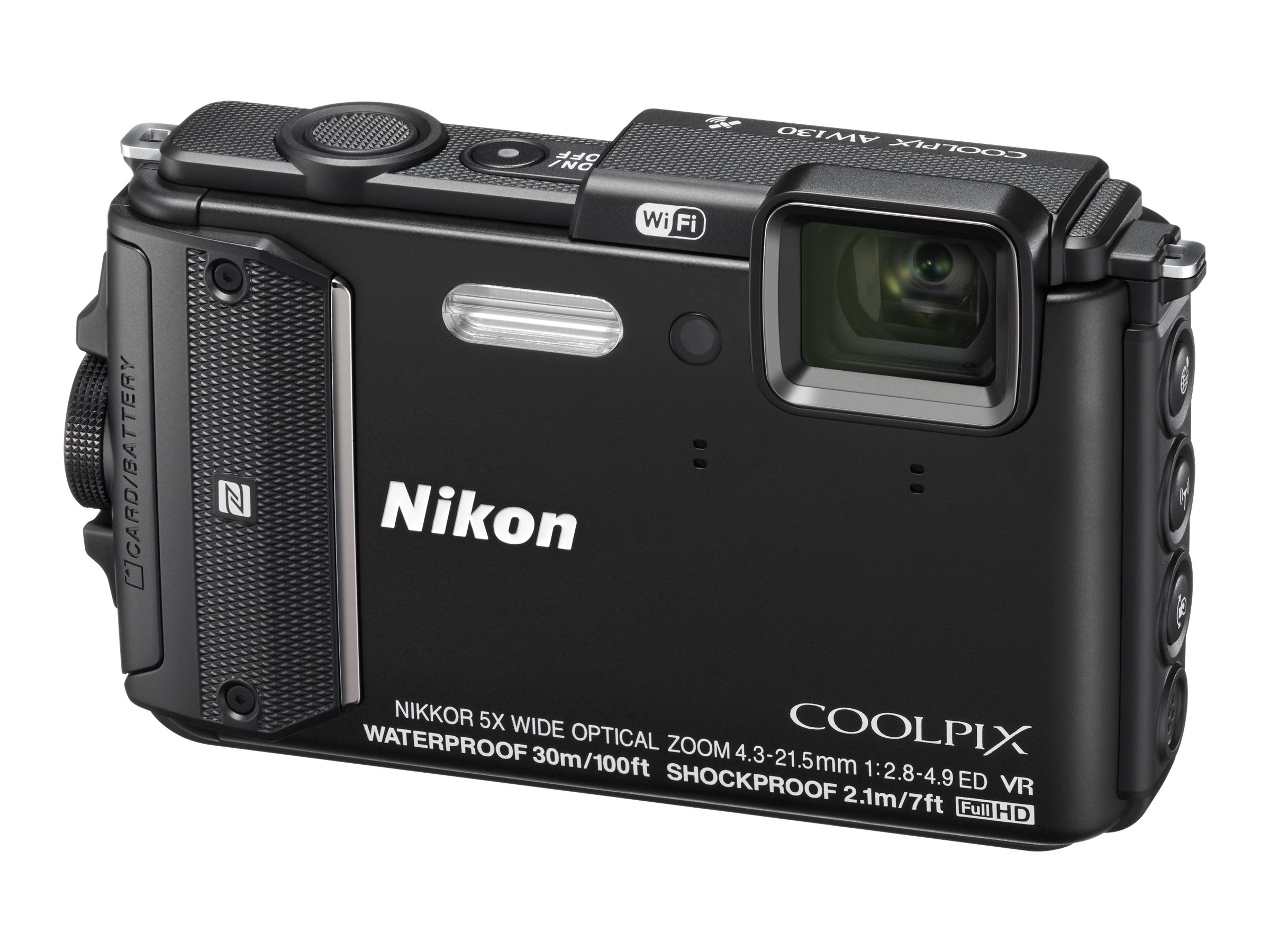 Nikon COOLPIX AW130 Waterproof Digital Camera, 16MP, 5x Zoom, Black, 26491, 19249105, Cameras - Digital - Point & Shoot