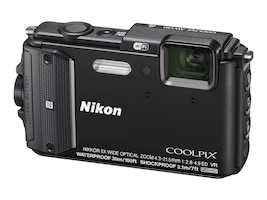 Nikon COOLPIX AW130 Waterproof Digital Camera, 16MP, 5x Zoom, Black, 26491, 19249105, Cameras - Digital