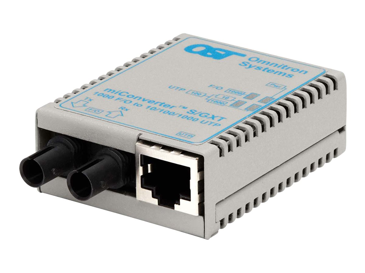 Omnitron MiConverter S S GXT 10 100 1000BT RJ45-1000B-SX ST MM 850NM 220 550M, 1620-0-1, 16793797, Network Transceivers