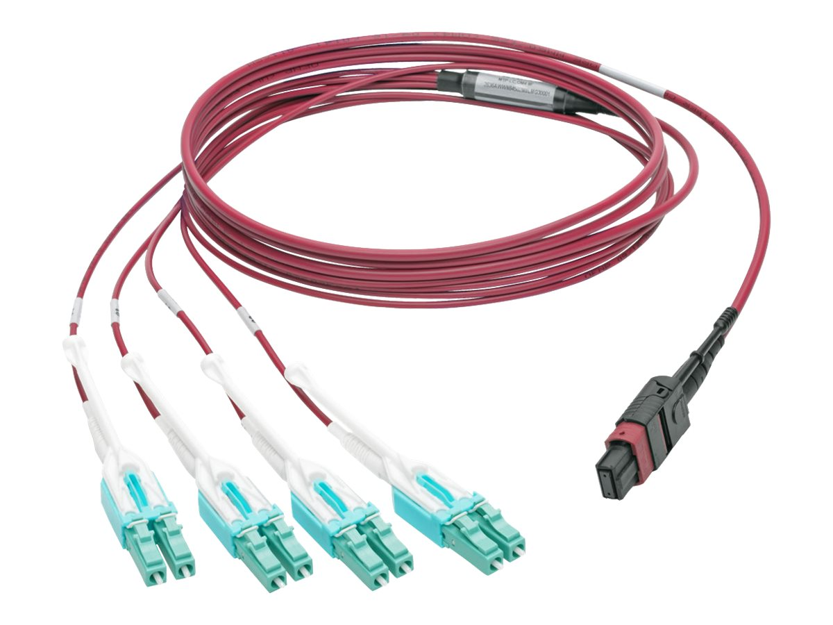Tripp Lite 40GBASE-SR4 MTP MPO to 8xLC OM4 Fan-Out Patch Cable, Magenta, 3m, N845-03M-8L-MG