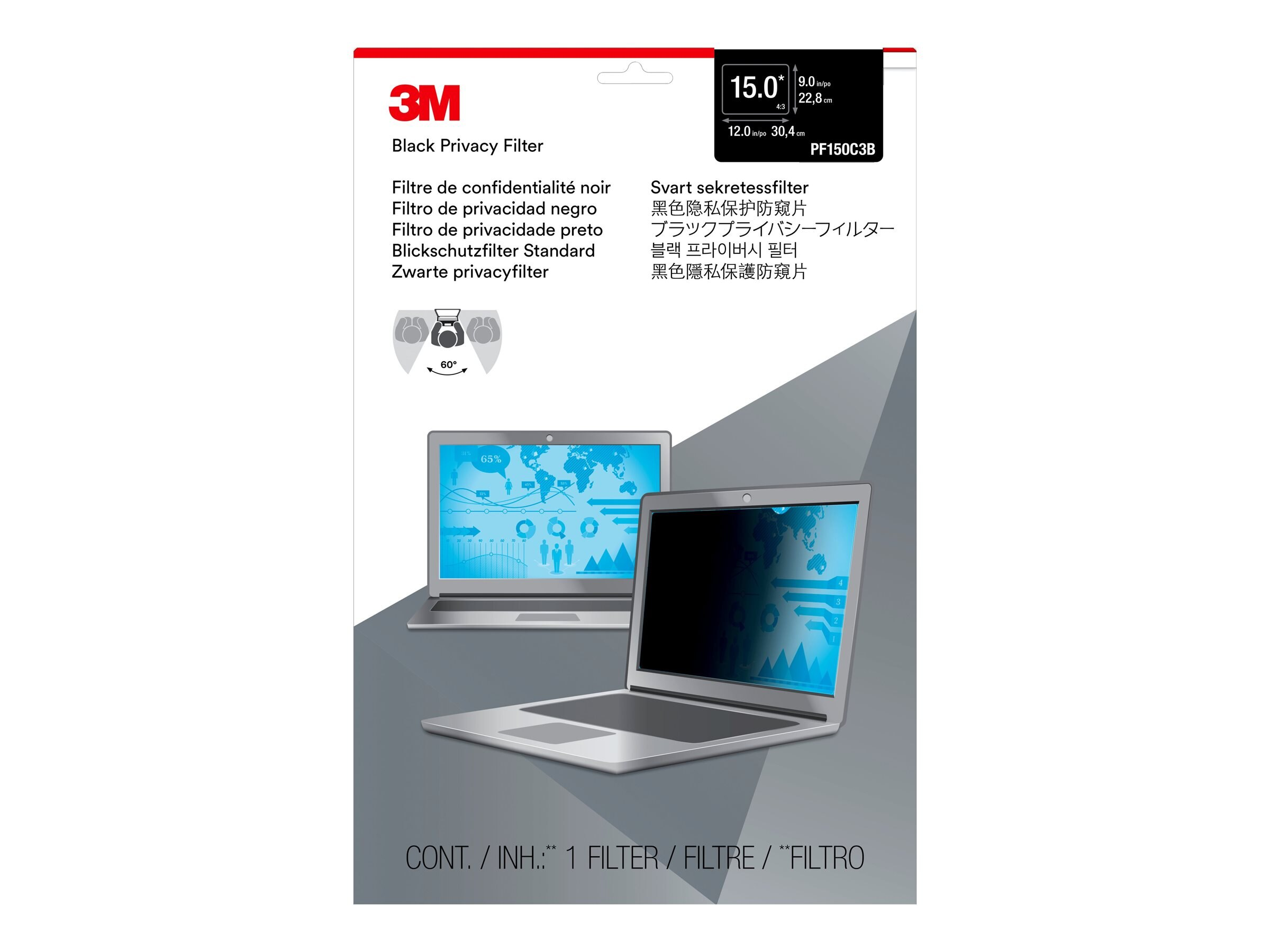 3M PF15.0 Privacy Filter for Standard Formatted 15 Notebooks, PF150C3B