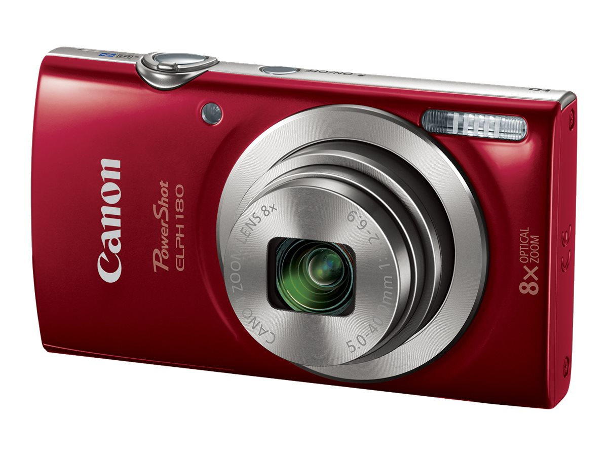Canon PowerShot ELPH 180 Camera, 20MP, 8x Zoom, Red, 1096C001