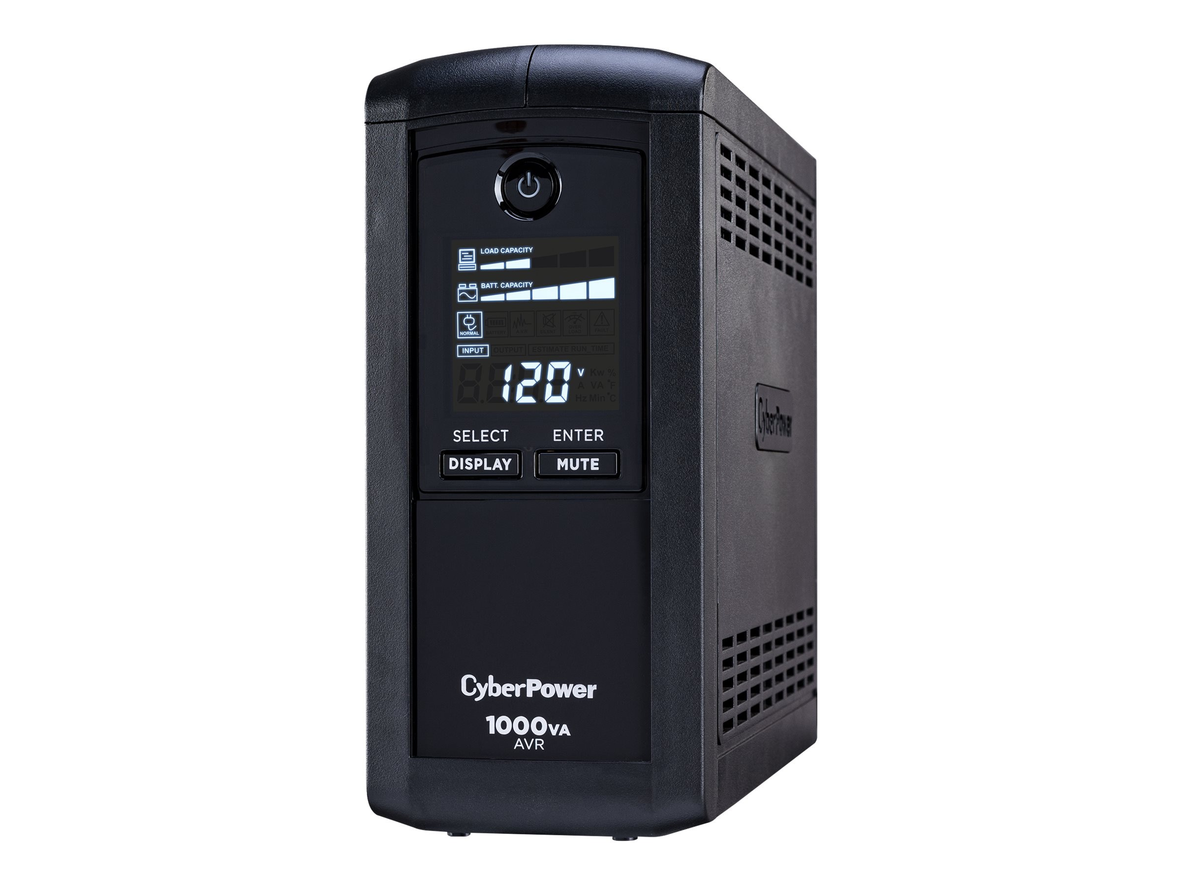 CyberPower 1000VA 600W AVR (9) Outlet RJ-11 RJ-45 Coax Tower LCD Display, Instant Rebate - Save $5, CP1000AVRLCD, 7724474, Battery Backup/UPS