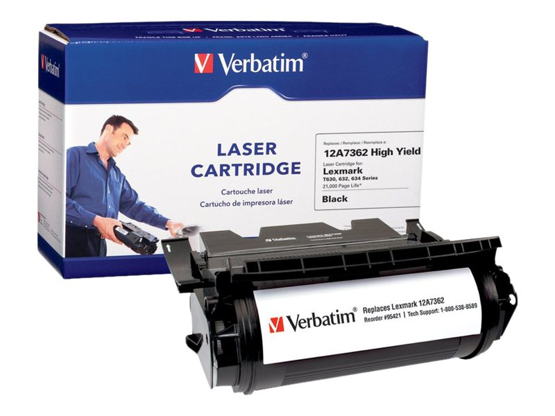 Verbatim 12A7362 Black High Yield Toner Cartridge for T630, T632 & T634, 95421, 15695204, Toner and Imaging Components