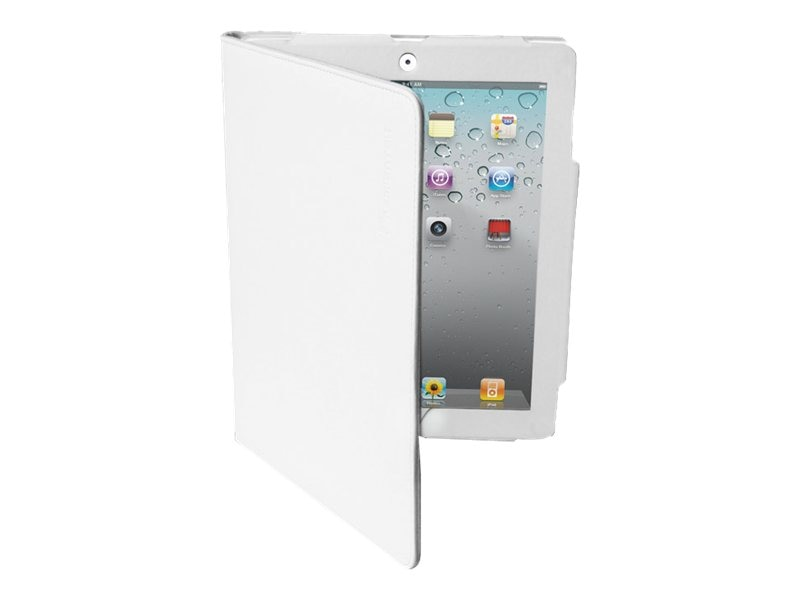 Premiertek Leather Folio Case with Stand for iPad 3, new iPad, White