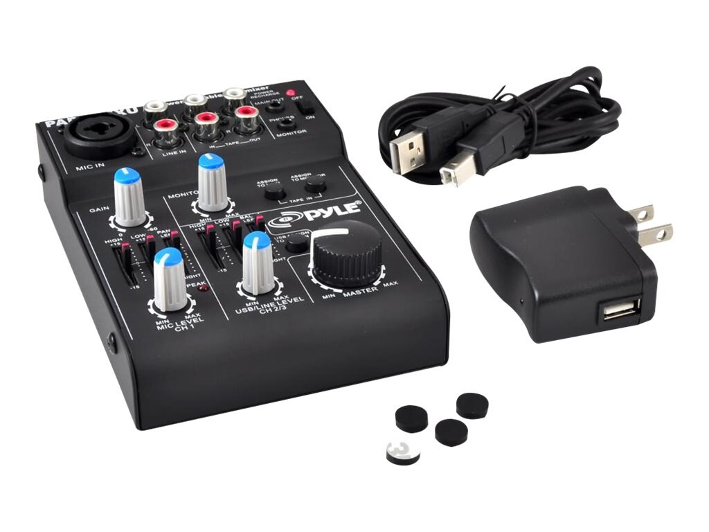 Pyle 5-Channel Professional Compact Audio Mixer w  USB Interface, PAD20MXU