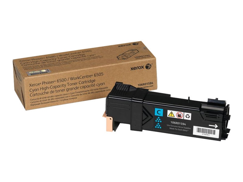 Xerox Phaser 6500 WorkCentre 6505, High Capacity Cyan Toner Cartridge (2,500 Pages), North America, EEA, 106R01594