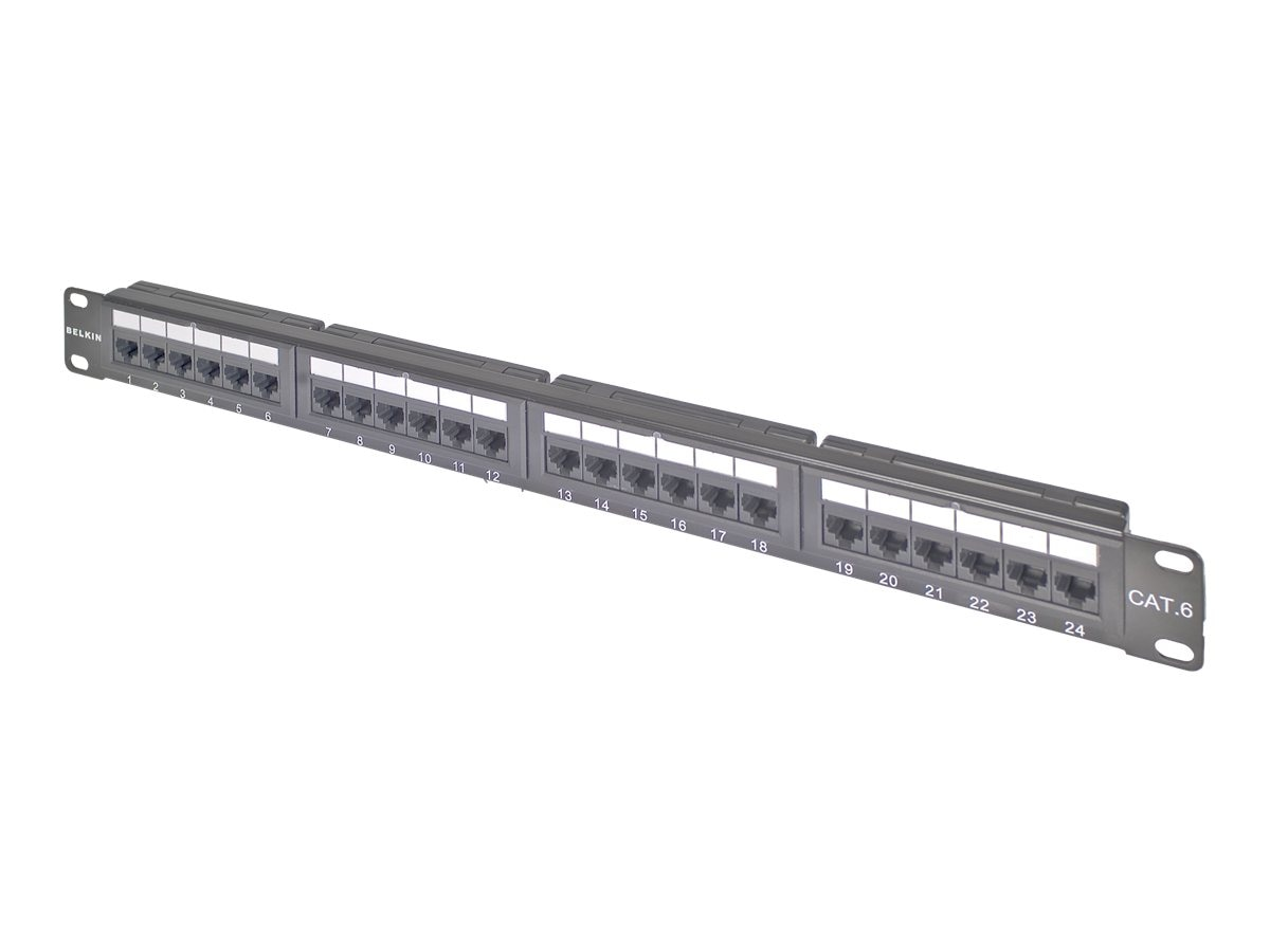 Belkin Cat6 Modular Patch Panel, 568A & B, 24-port, F4P638-24-AB5, 5184267, Patch Panels