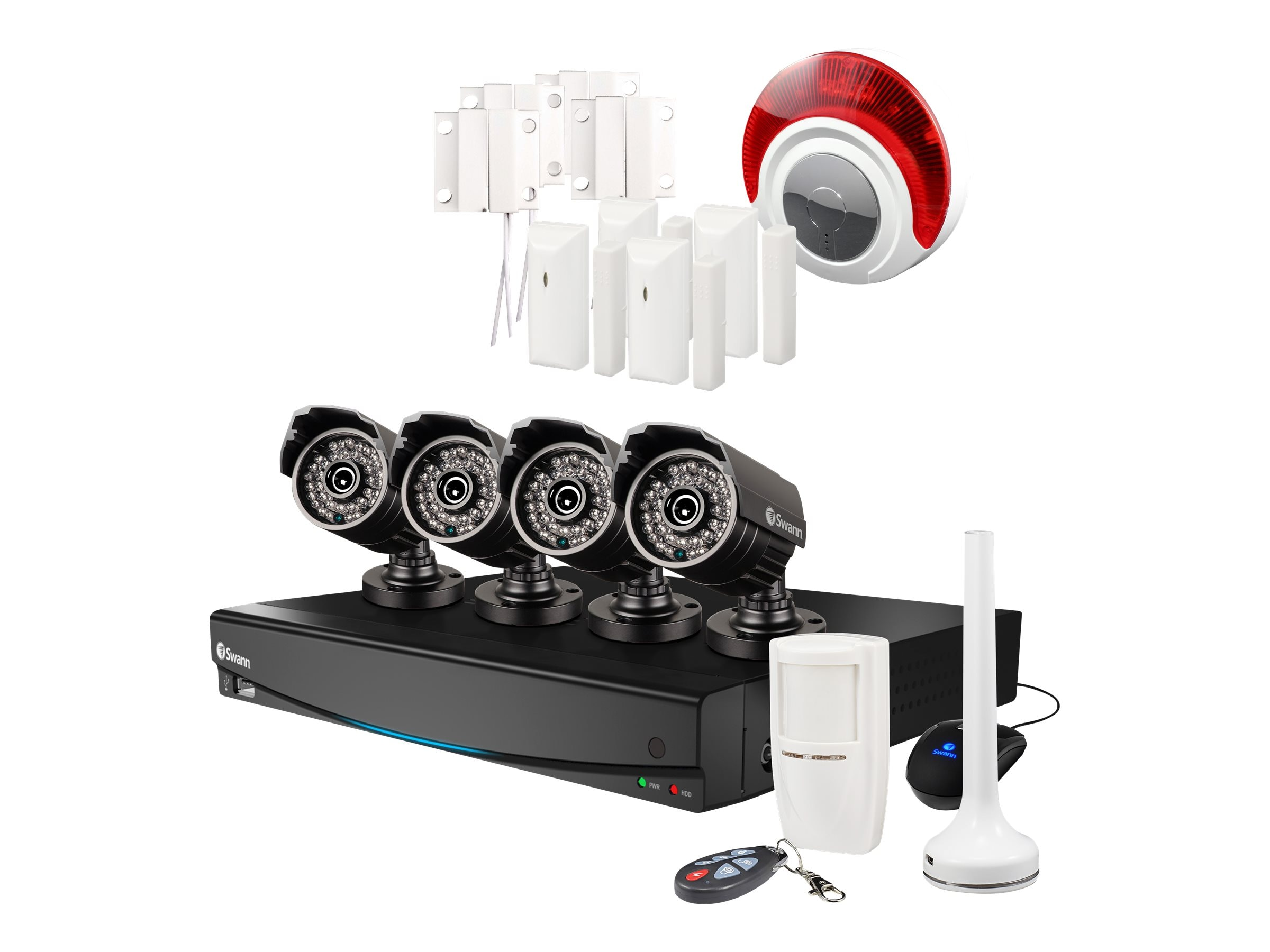 Swann 8-Channel 960H DVR with 4x 720TVL Cameras, Alarm Sensors, Siren, SWVAK-834254D-US, 30948901, Video Capture Hardware