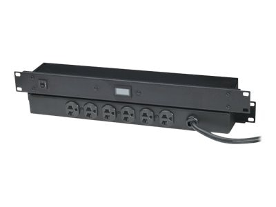 Black Box 20-Amp Power Strip, Digital Ammeter, 1U RM, (6) 5-20R Outlets, 6ft Cord, PS365A-R2, 10816644, Power Distribution Units