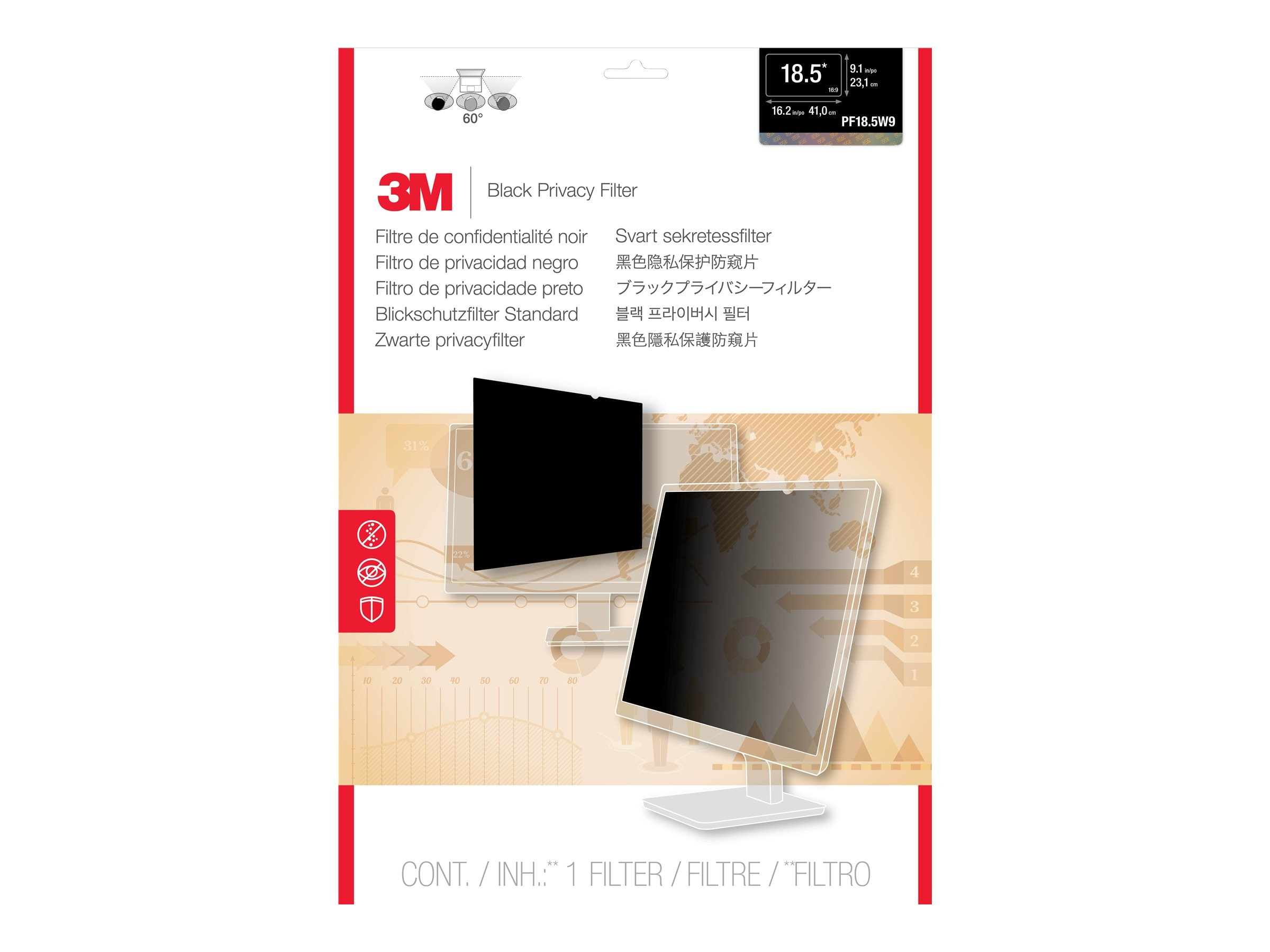 3M Privacy Filter for 18.5 Widescreen Desktop LCD Monitor, PF18.5W9