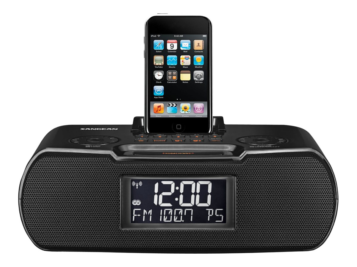 Sangean AM FM Atomic Clock Radio Dock, RCR-10BLACK, 11983524, Clock Radios