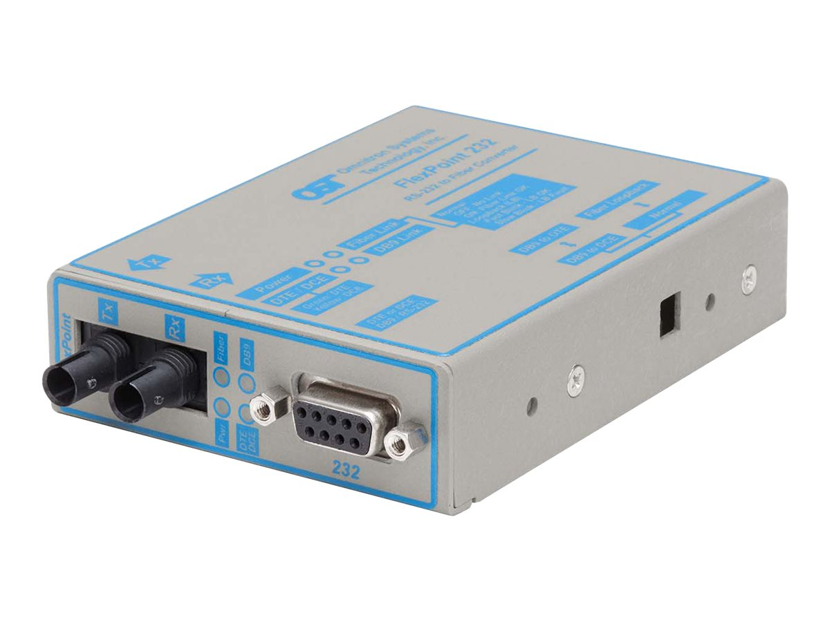 Omnitron FlexPoint 232 Media Converter (converts RS-232 to MM ST 2.5km), 4481-0, 437257, Network Transceivers