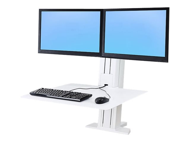 Ergotron WorkFit-SR, Dual Monitor, Sit-Stand Desktop Workstation, White