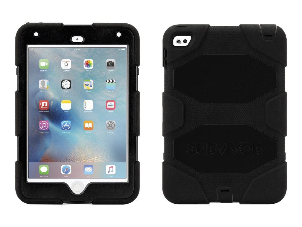 Griffin All-Terrain Military Duty Anti-Shock Case w  Stand for iPad mini 4, Black, GB41353, 30781371, Carrying Cases - Tablets & eReaders