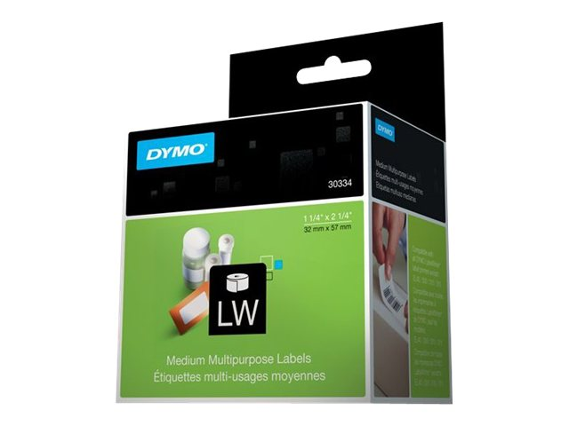 DYMO White Multi-Purpose Labels - 1 roll of 1000 roll, 30334, 101660, Paper, Labels & Other Print Media