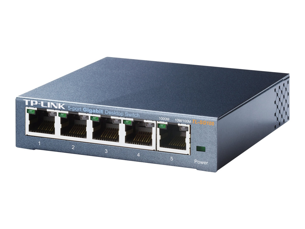 TP-LINK 5-Port 10 100 1000Mbps Desktop Gigabit Steel Cased Switch, TL-SG105