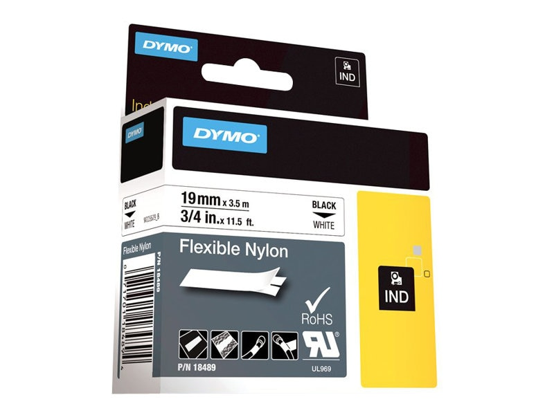DYMO 0.75 x 11.5' Flexible Industrial Strength Nylon Tape (White), 18489