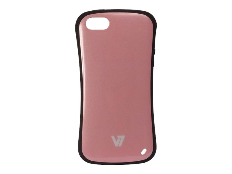 V7 Slim Survivor Bumper Hard Shell Protective PC PU Cover Case for iPhone 5, Pink