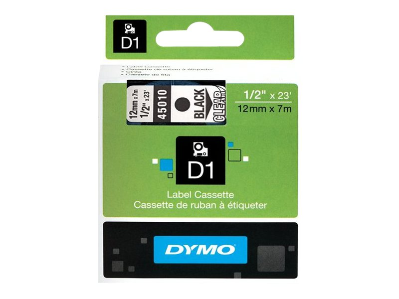 DYMO 1 2 x 23' Black on Clear D1 Tape, 45010